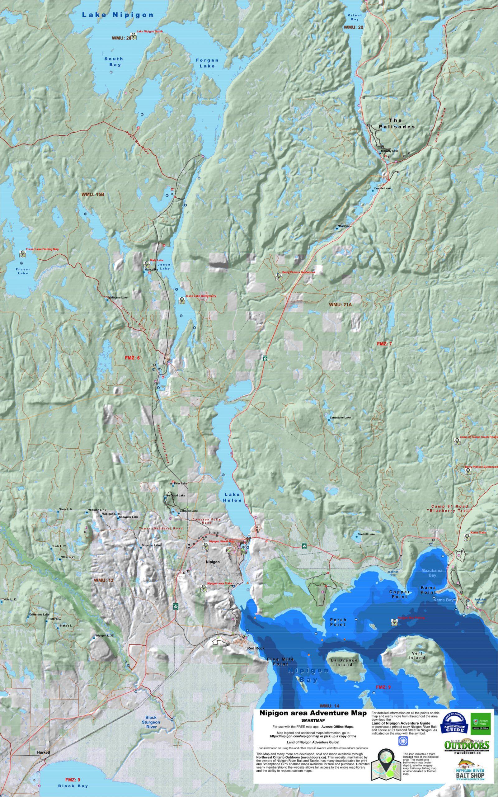 Nipigon area map
